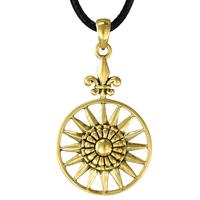 Bronze Sun Burst Compass Pendant Art Deco Jewelry