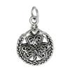 Sterling Silver Celtic Shamrock Clover with Claddagh Bracelet Charm