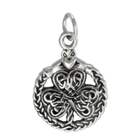 Sterling Silver Celtic Shamrock Clover with Claddagh Bracelet Charm