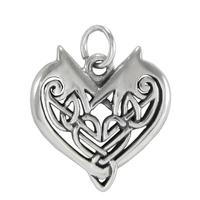 Sterling Silver Woven Celtic Knot Heart Bracelet Charm Pendant