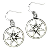 Sterling Silver Septagram Heptagram Fairy Star Earrings Jewelry