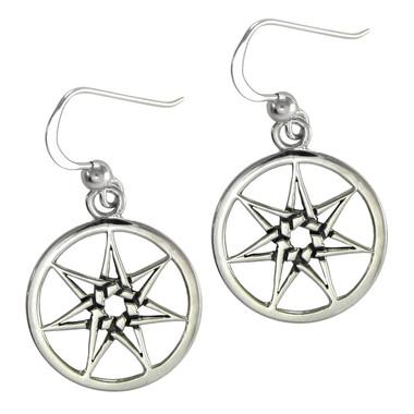 Sterling Silver Septagram Heptagram Fairy Star Earrings Jewelry