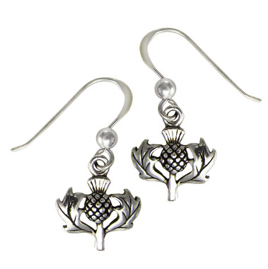 Sterling Silver Small Scottish Thistle Earrings Heritage Jewelry