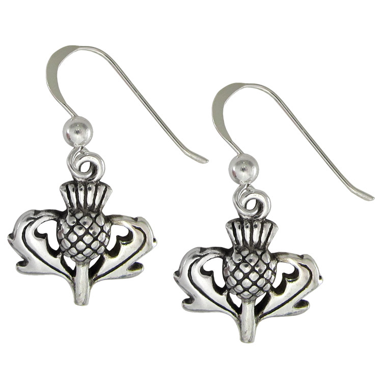 75abf09a2 Sterling Silver Scottish Thistle Earrings Heritage Jewelry. Loading zoom