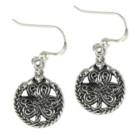 Sterling Silver Celtic Shamrock Clover with Claddagh Earrings for Women