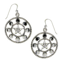 Large Sterling Silver Pentacle Pentagram Moon Phase Dangle Earrings