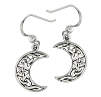 Sterling Silver Celtic Knot Moon and Star Dangle Earrings