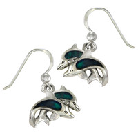 Sterling Silver Blue Dolphin Dangle Earrings with Lustrous Blue Enamel
