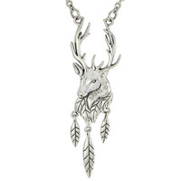 Sterling Silver Antlered Stag Necklace
