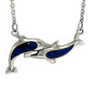 Sterling Silver Dancing Dolphin with Lustrous Blue Enamel