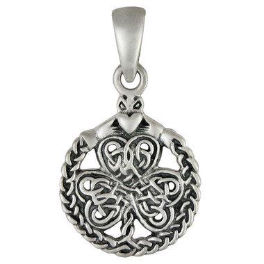 Small Sterling Silver Celtic Shamrock Clover with Claddagh Pendant