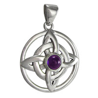 Sterling Silver Celtic Quaternary Witches Knot Pendant Amethyst Jewelry