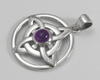 Sterling Silver Celtic Quaternary Pendant with Amethyst