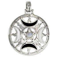 Sterling Silver Enamel Moon Phase Pentacle Pendant with Rainbow Moonstone