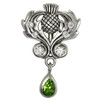 Sterling Silver Scottish Thistle Pendant with Cubic Zirconia and Peridot Gemstone