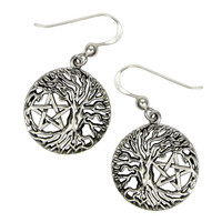 Tree of Life Yggdrasil Pentacle Pentagram Earrings Wiccan Pagan Jewelry