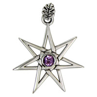 Sterling Silver Septagram Heptagram Faery Star Pendant Jewelry with Amethyst Gemstone