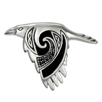 Sterling Silver Flying Celtic Raven Pendant