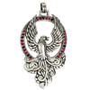 Large Sterling Silver Majestic Firebird Phoenix Pendant Jewelry with Crystal Accents