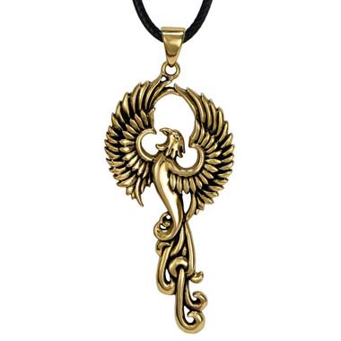 Bronze Rise of the Phoenix Pendant Firebird Jewelry Symbol of Eternity and Immortality
