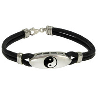 Sterling Silver Yin Yang Bracelet Taoist Balance Symbol with Genuine Leather