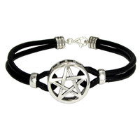 Sterling Silver Pentacle Pentagram Bracelet with Genuine Leather Strand