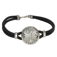 Sterling Silver Yggdrasil Tree of Life Bracelet with Genuine Leather Strand