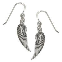 Sterling Silver Angel Wings Feather Dangle Earrings Jewelry