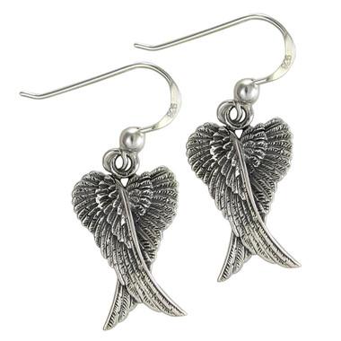 Sterling Silver Folded Angel Wings Dangle Earrings
