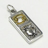 Sterling Silver Cancer the Crab Zodiac Sign Pendant Charm with Vermeil
