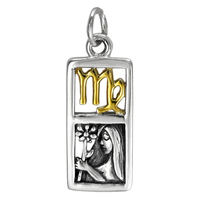 Sterling Silver Virgo the Virgin Zodiac Sign Pendant Charm with Vermeil