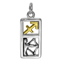 Sterling Silver Sagittarius the Archer Zodiac Sign Pendant Charm with Vermeil