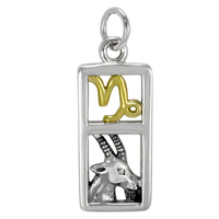 Sterling Silver Capricorn the Goat Zodiac Sign Pendant Charm with Vermeil
