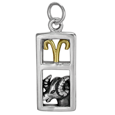 Sterling Silver Aries the Ram Zodiac Sign Pendant Charm with Vermeil