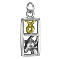 Sterling Silver Taurus the Bull Zodiac Sign Pendant Charm with Vermeil