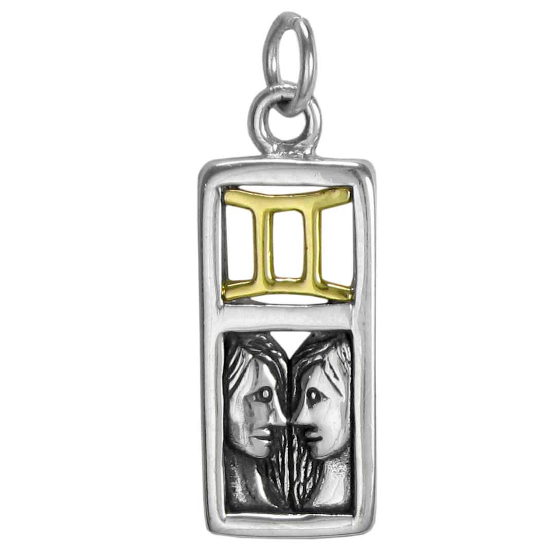 2 Gemini Zodiac Pendant Charms Antique Silver Tone 2 Sided SC6296