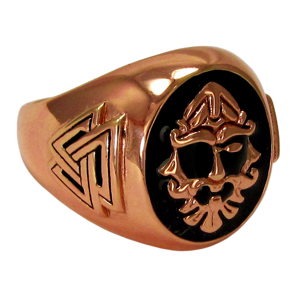 Large Copper Odin Valknut Signet Ring Moonlight Mysteries