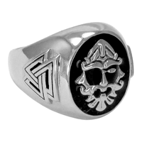 Large Sterling Silver Odin Valknut Signet Ring