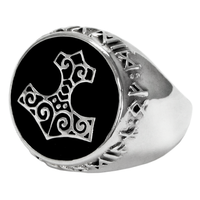 Sterling Silver Thor's Hammer Signet Ring