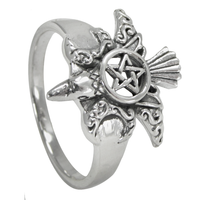 Sterling Silver Moon Phase Raven Pentacle Ring