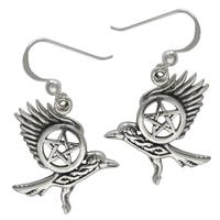 Sterling Silver Flying Celtic Knot Raven Earrings
