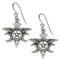Sterling Silver Moon Phase Raven Pentacle Earrings