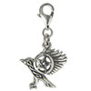 Sterling Silver Flying Raven Pentacle Clip Charm Wiccan Pentagram Pagan Jewelry