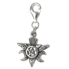 Sterling Silver Raven Pentacle Moon Phase Clip Charm