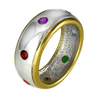 Sterling Silver Vermeil Seven Chakra Ring