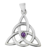 Sterling Silver Celtic Triquetra Pendant with Amethyst