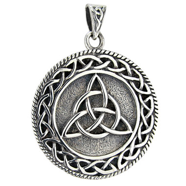 Sterling Silver Celtic Knotwork Triquetra Trinty Knot Pendant for Men or Women