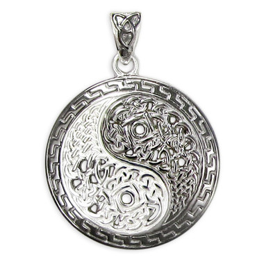 Sterling Silver Yin Yang Symbol Pendant with Celtic Knot Motifs