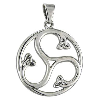 Sterling Silver Celtic Knot Triskele Spiral Pendant