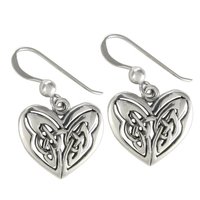 Sterling Silver Celtic Love Knot Heart Earrings